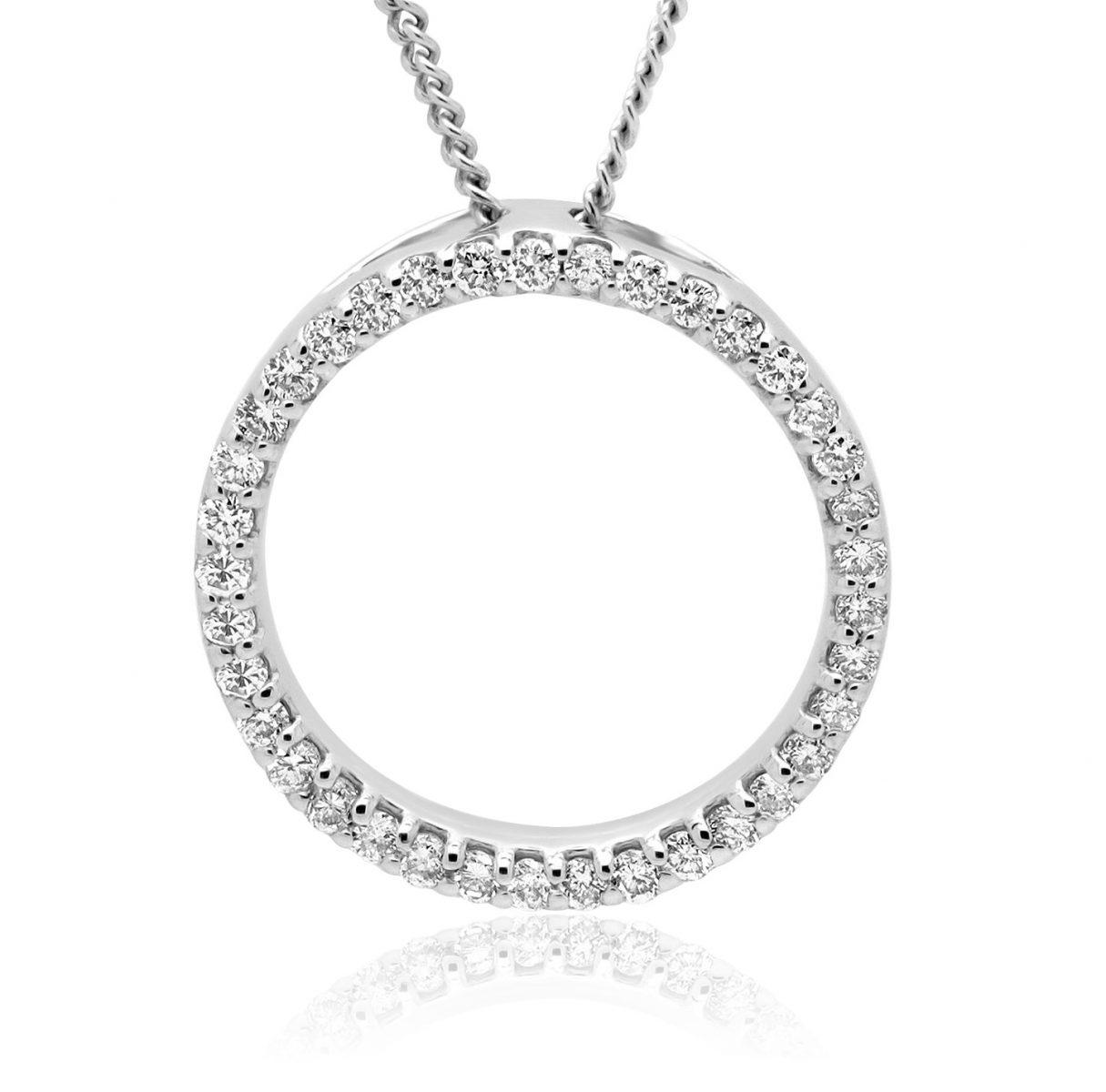 diamond pendant necklace circle of life style 14k white. Black Bedroom Furniture Sets. Home Design Ideas