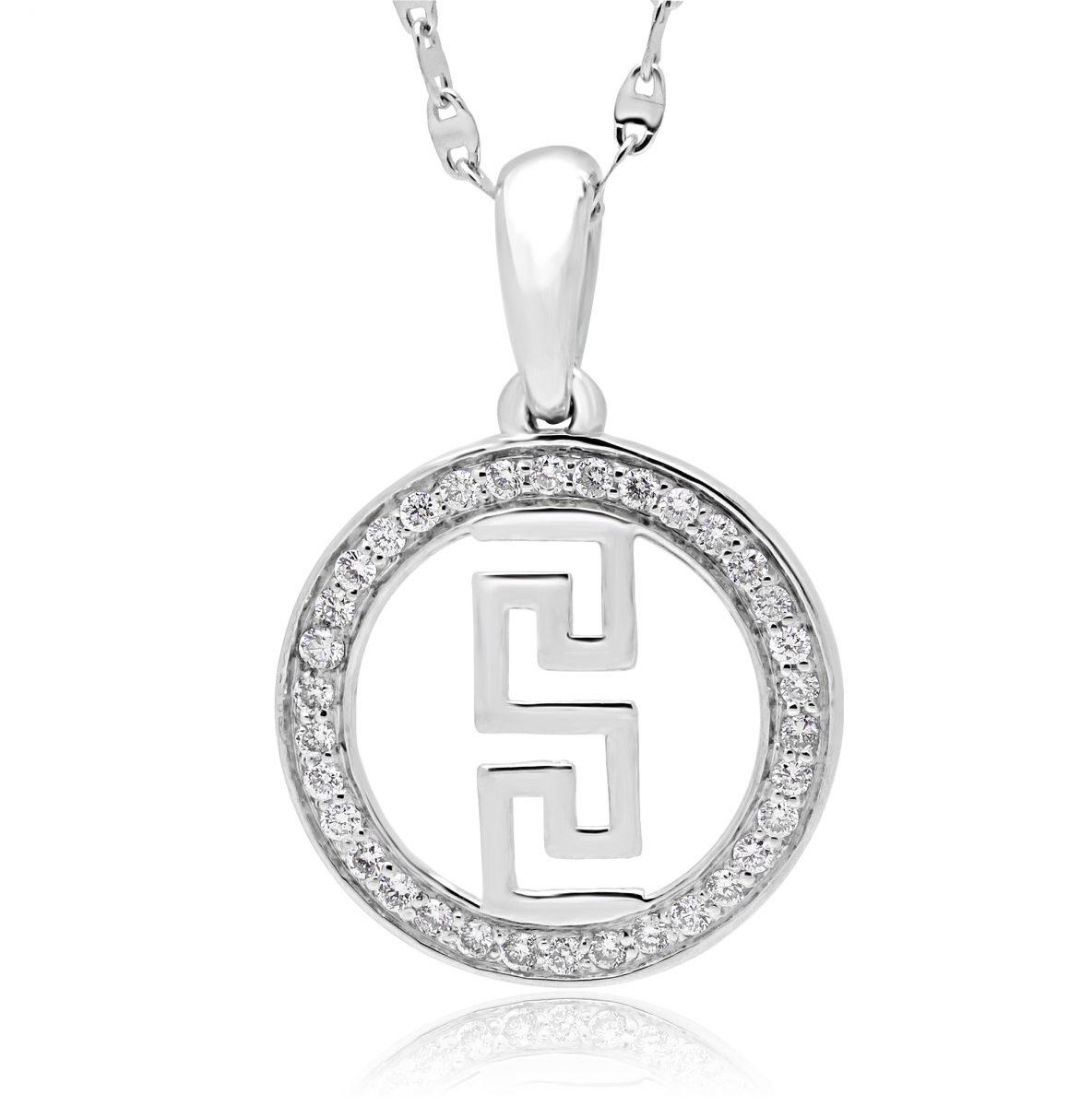 Greek key circle pendant necklace in 14k white gold with chain home pendants diamond pendants greek key circle pendant necklace aloadofball Gallery