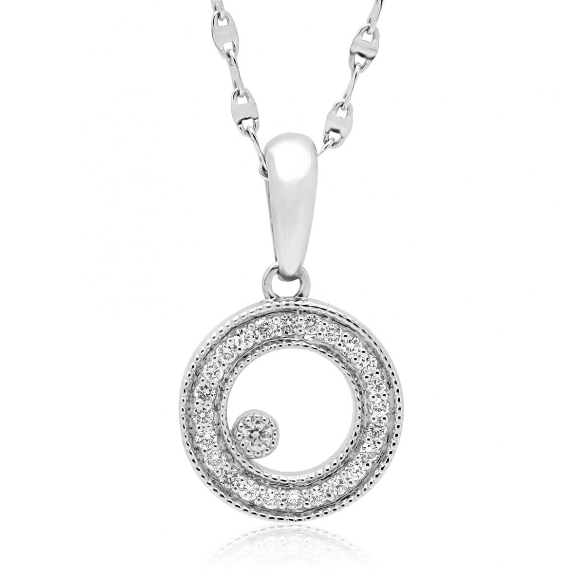 Diamond circle pendant necklace in 14k white gold with chain home pendants diamond pendants diamond circle pendant necklace aloadofball Gallery