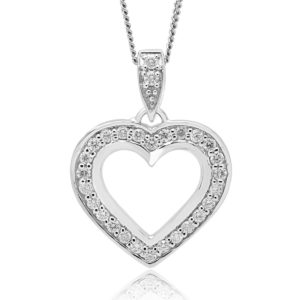 Diamond heart pendant in 10k white gold 0.52 (CTW)