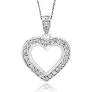 Diamond heart pendant in 10k white gold0.52 (CTW)