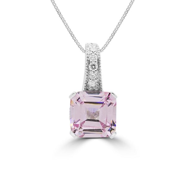 0.14 carat diamond fancy pink lab stones pendant necklace 14k gold