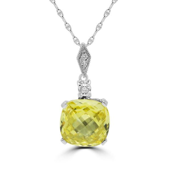 Diamonds & fancy cushion cut pendant CZ canary color in 14k white gold