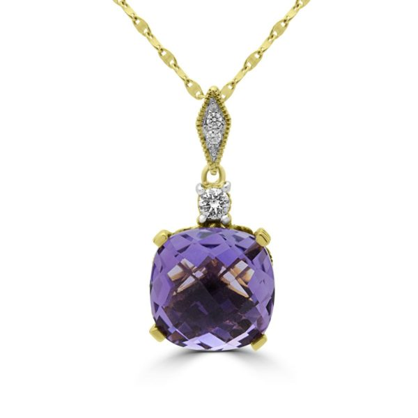 Diamonds & lab stones pendant necklace fancy amethyst color 14k gold