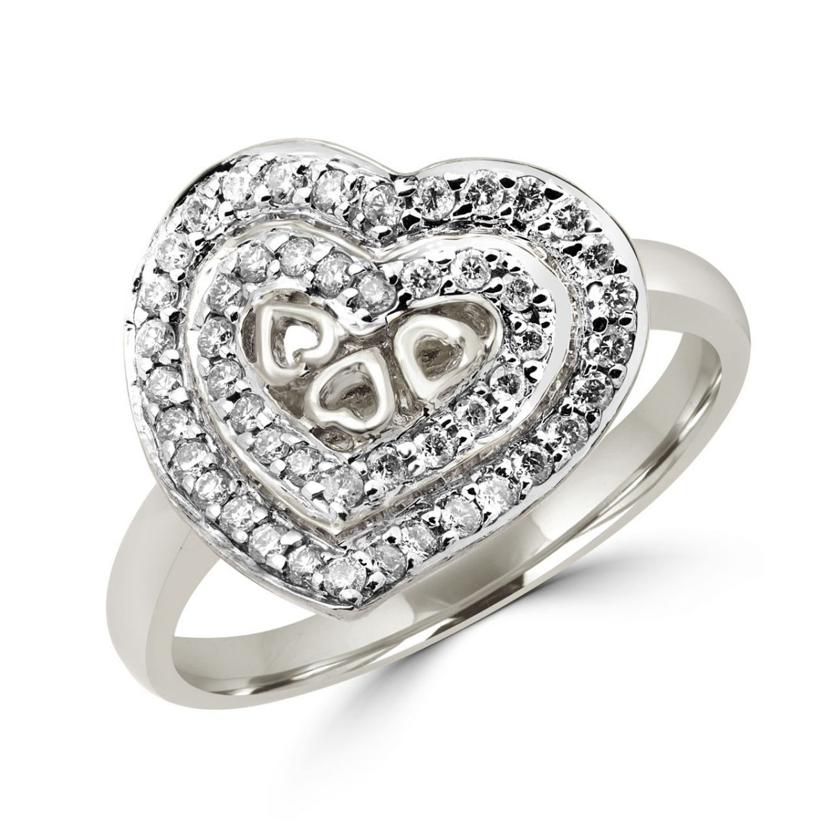 Pave heart cocktail ring 0.33 (ctw) in 10k white gold