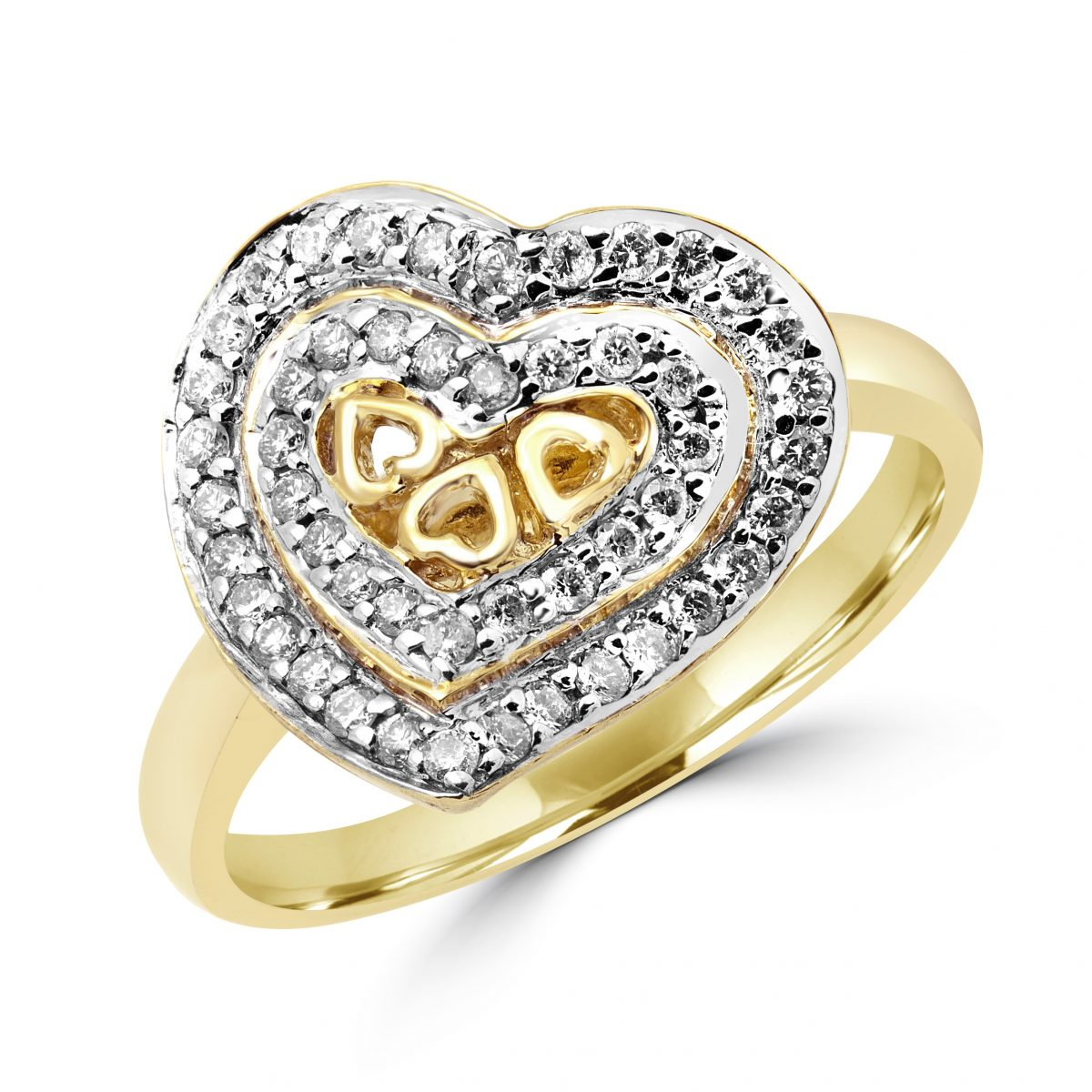 Pave heart cocktail ring 0.33 (ctw) in 10k yellow gold