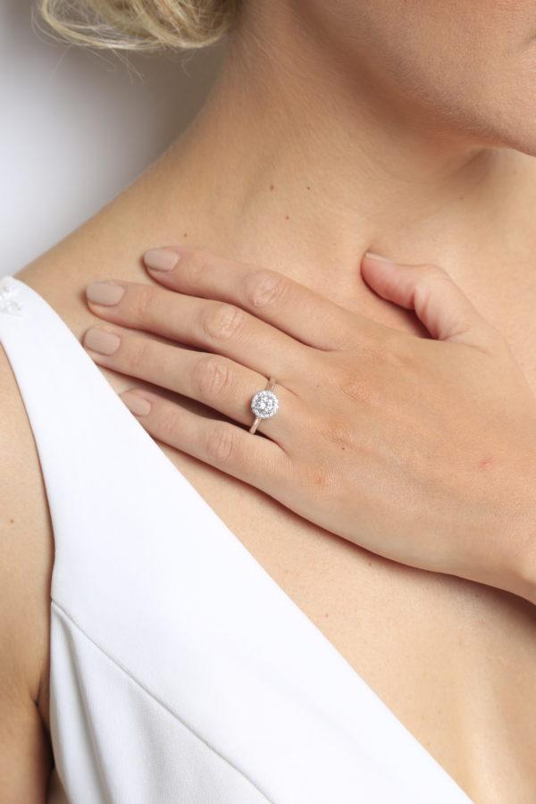 Eternal love halo engagement ring 0.67(ctw) 14k white gold