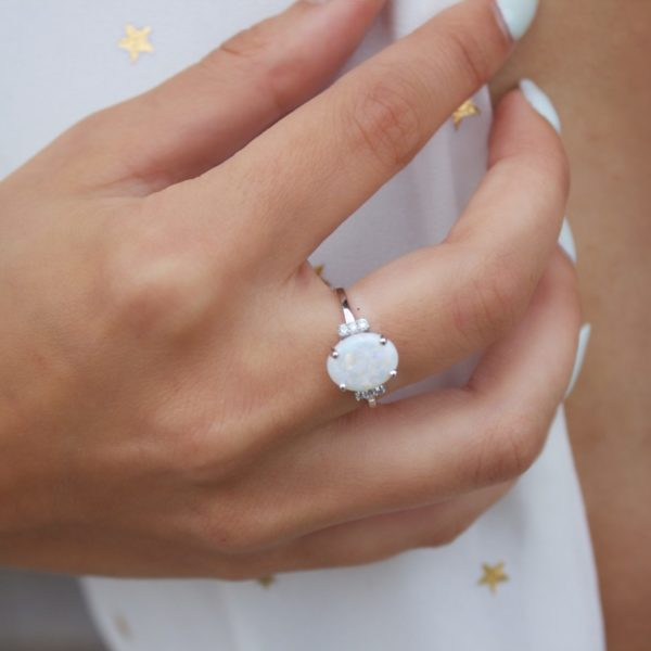 White opal & diamond statement cocktail ring in 14 white gold