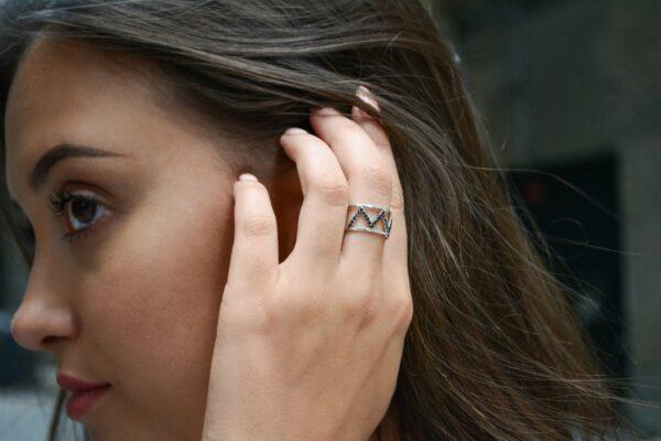 Zig Zag black diamond ring 0.31 (ctw) in 14k white gold