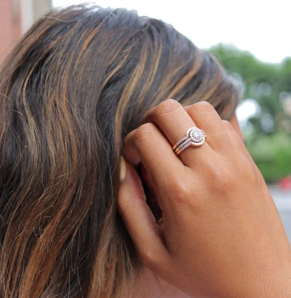 Diamond Engagement halo ring on a woman in Montreal