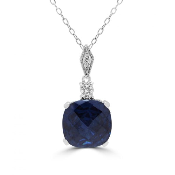 Diamonds & lab stone sapphire color pendant necklace 14k gold