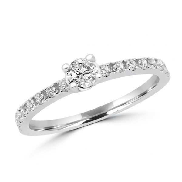 14k white gold engagement ring with shimmering 0.23+0.34 Ct diamonds