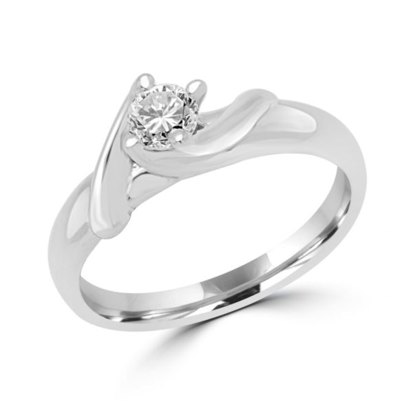 Edgy 0.3 carat diamond si g engagement 14k white gold ring