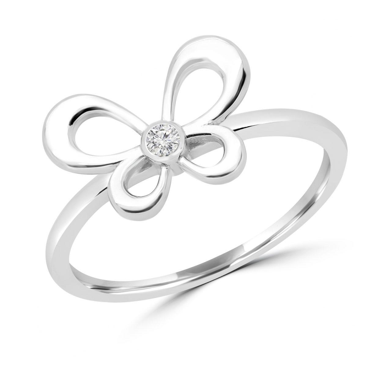 ce849c1dce3a Anillo de compromiso en oro blanco con diseño de mariposa 10k con diamante  redondo