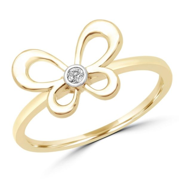 Diamond promise ring butterfly design 0.02 ct 10k yellow gold