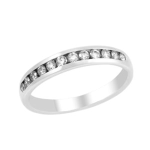 0.34 CT SEMI-ETERNITY CHANNEL SET DIAMOND WEDDING BAND ANNIVERSARY RING IN 14K WHITE GOLD