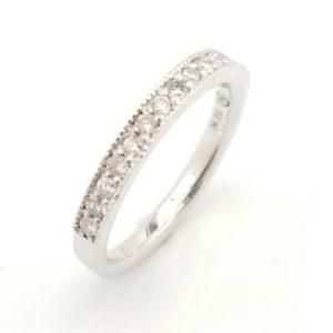 Semi-eternity diamond milgrain anniversary ring