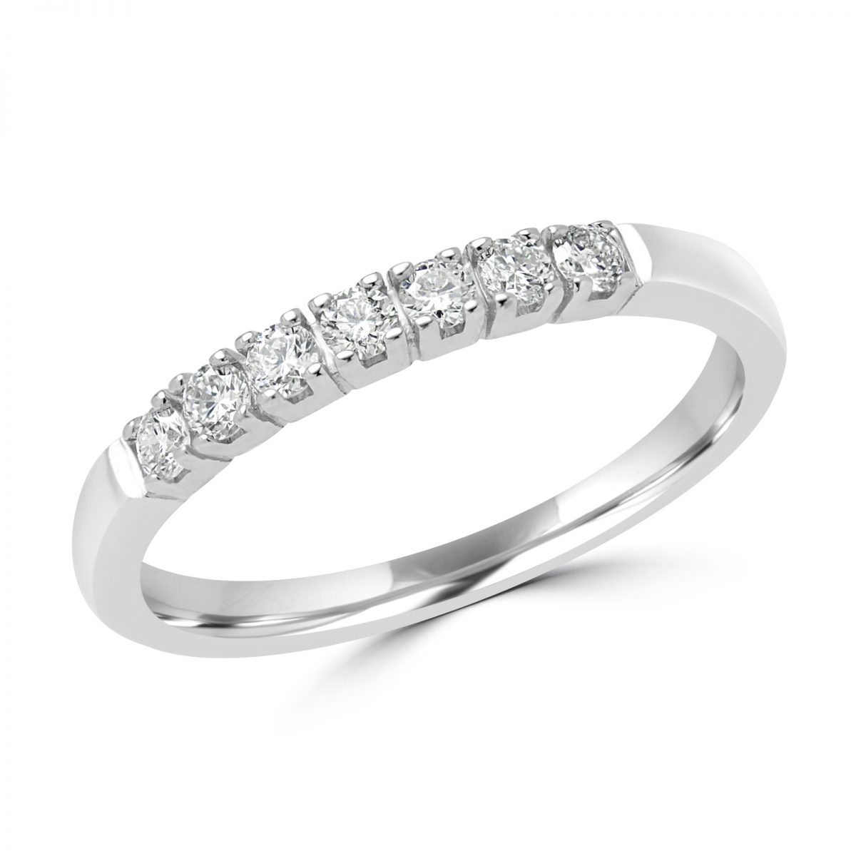eternity princess side bold bands cut white ring gold semi band size