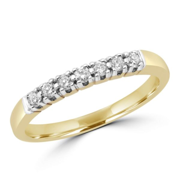 7 stone semi-eternity ring in yellow gold