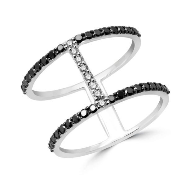 Semi-eternity black and white diamond ring in 14k white gold