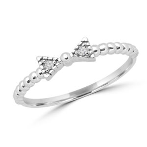 0.02 carat round diamond promise ring in 10k white gold
