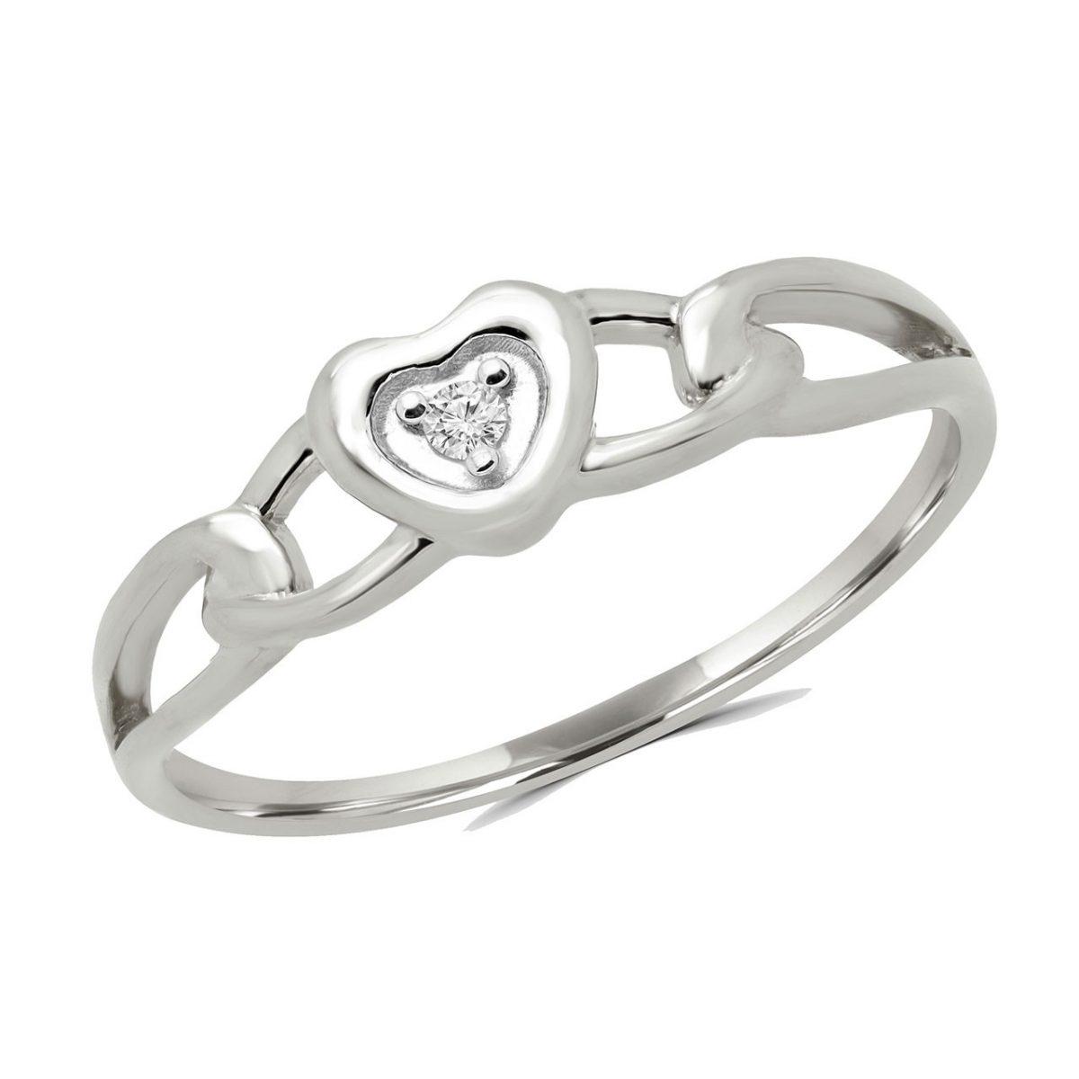 2e11f08514884b 0.02 carat round diamond heart promise ring in 10k white gold ...