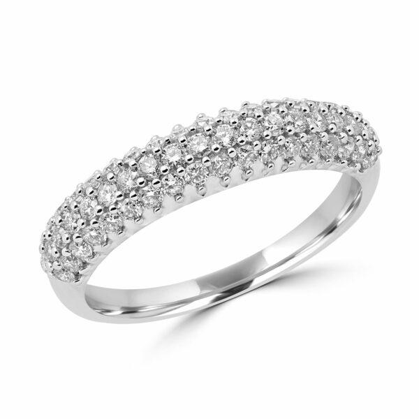 0.58 CT DIAMOND RING WEDDING BAND IN 14K WHITE GOLD