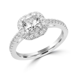 Shimmering 14k white gold halo ring