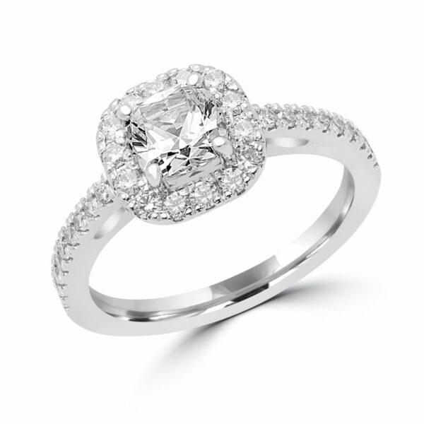 Shimmering 14k white gold halo ring