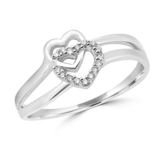 Double heart promise ring 0.08 (ctw) in 10k white gold