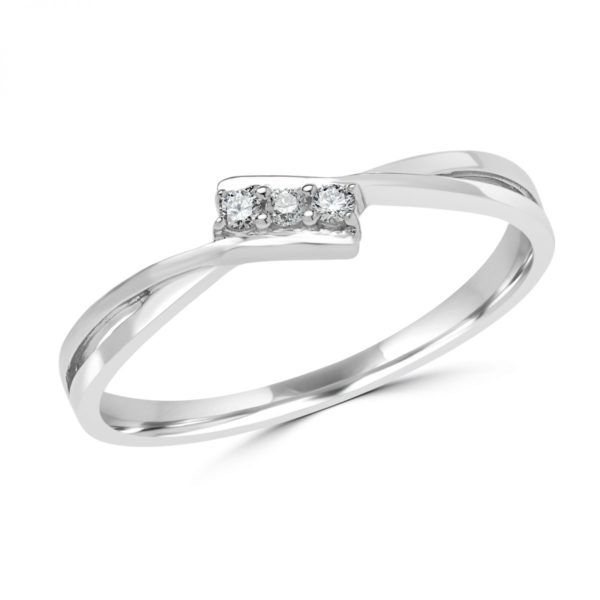 Charming promise ring in 10k white gold 0.05 (ctw)