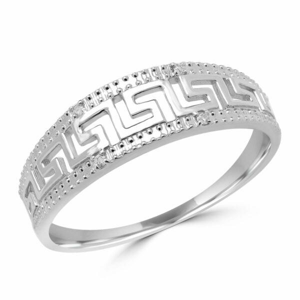Greek key wedding band fashion ring in 14k white gold