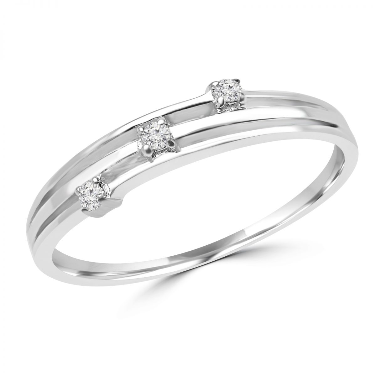 04 Carat Bands: 0.04 Carat Round Diamond Promise Ring In 10k White Gold