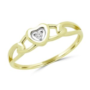 0.02 carat round diamond accent heart promise ring 10k yellow gold