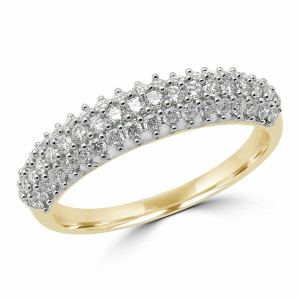 0.58 CT DIAMOND FASHION RING WEDDING BAND IN 14K YELLOW GOLD