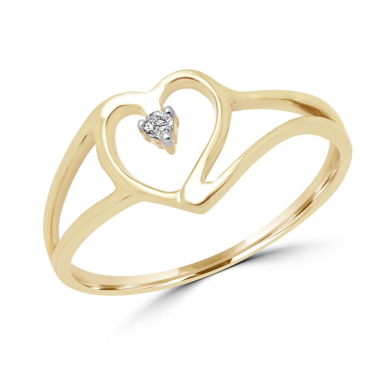 bcebc088bc4c Anillo de promesa con el corazón de diamante 0.02 ct diamante 10k oro  amarillo