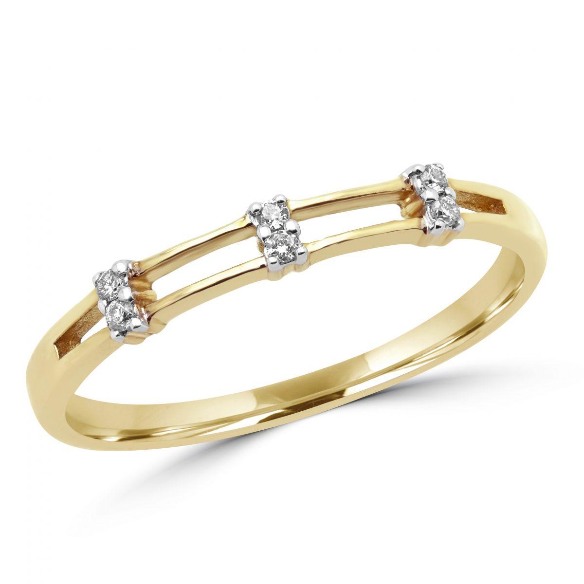 0.06 carat round diamonds promise ring in 10k yellow gold