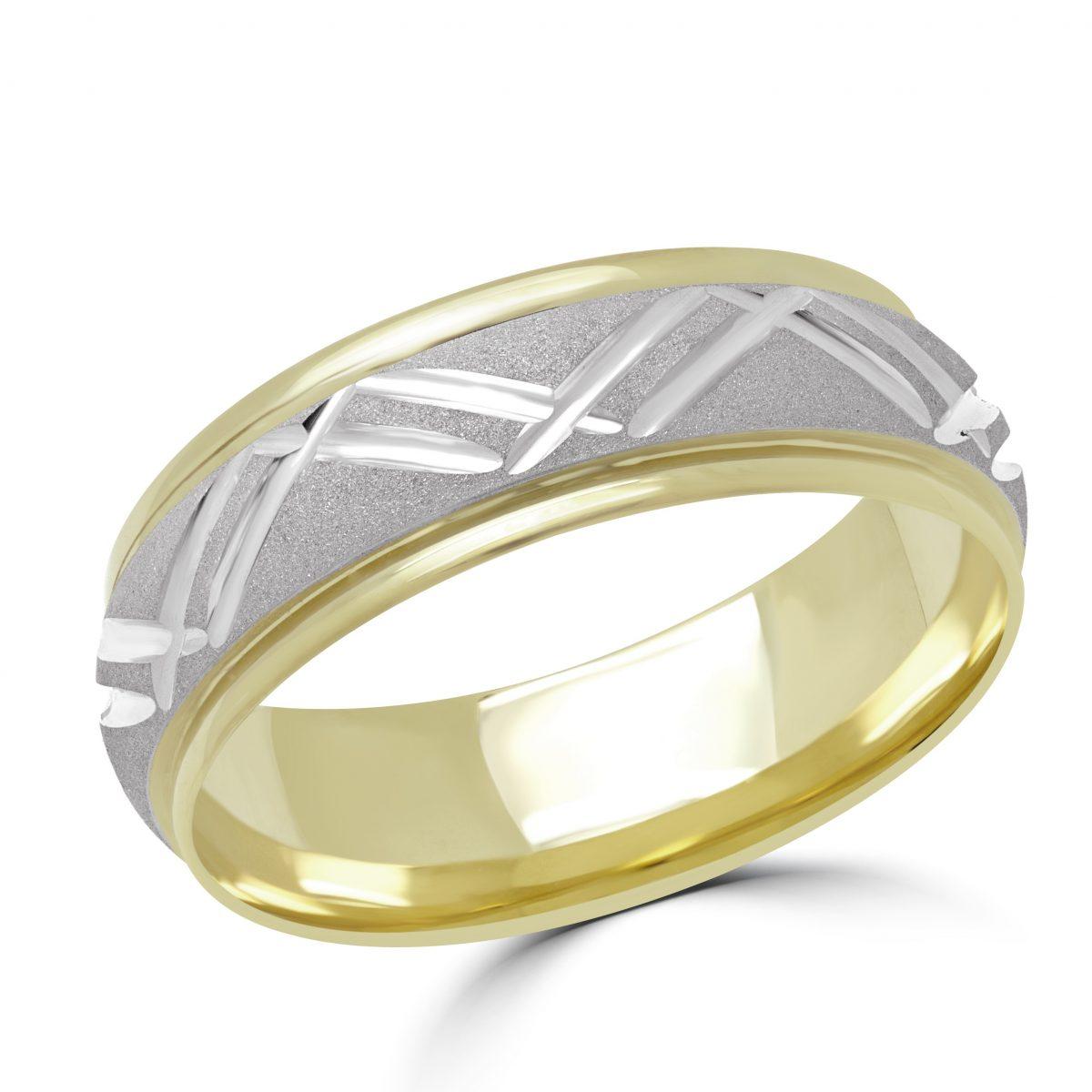 Wedding Band 10k Yellow And White Gold