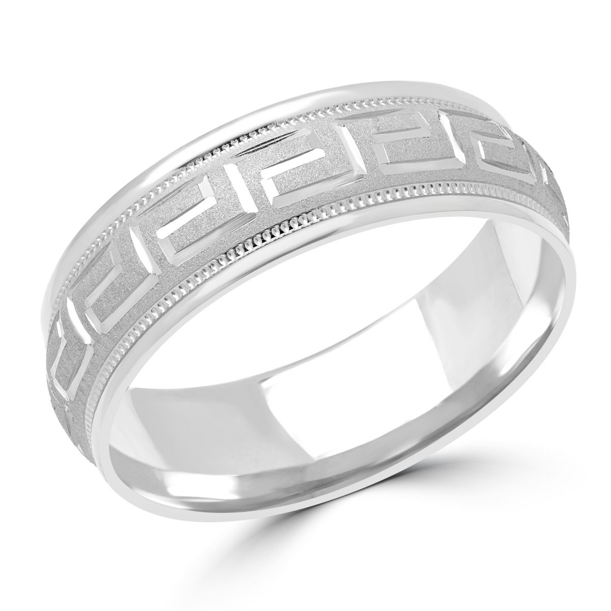 Comfort Fit Wedding Band Fashion Ring In 10k White Gold