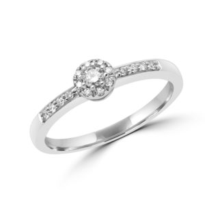Trendy diamond halo ring in 14k white gold