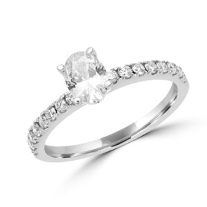 Oval Solitaire engagement ring diamonds center 0.70 ct vs2 g gia