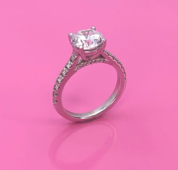 Flawless solitaire diamond engagement ring