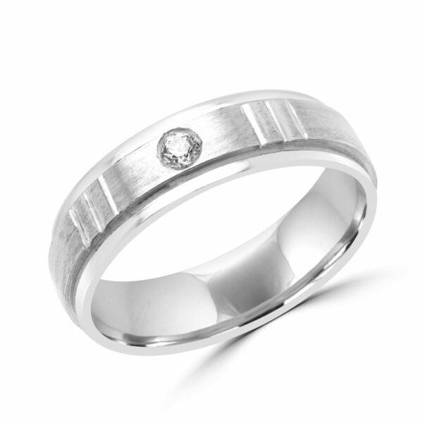Men fashion diamond wedding band in 10k white gold