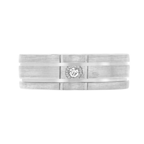Men classic diamond wedding band in 10k white gold
