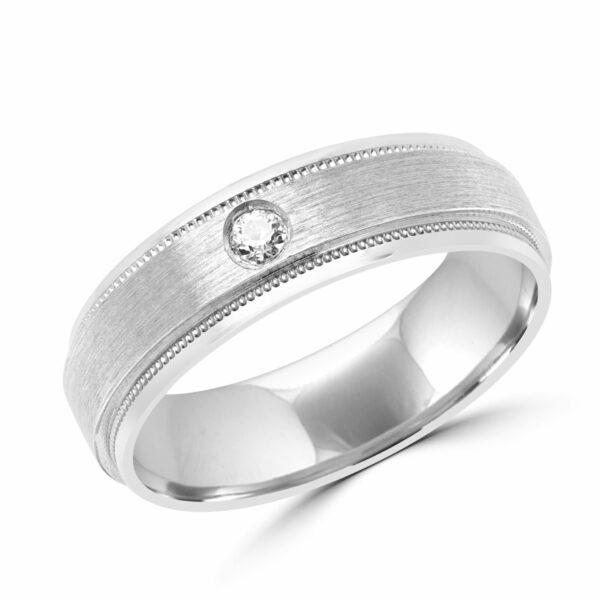 Men stylish diamond wedding band in 10k white gold