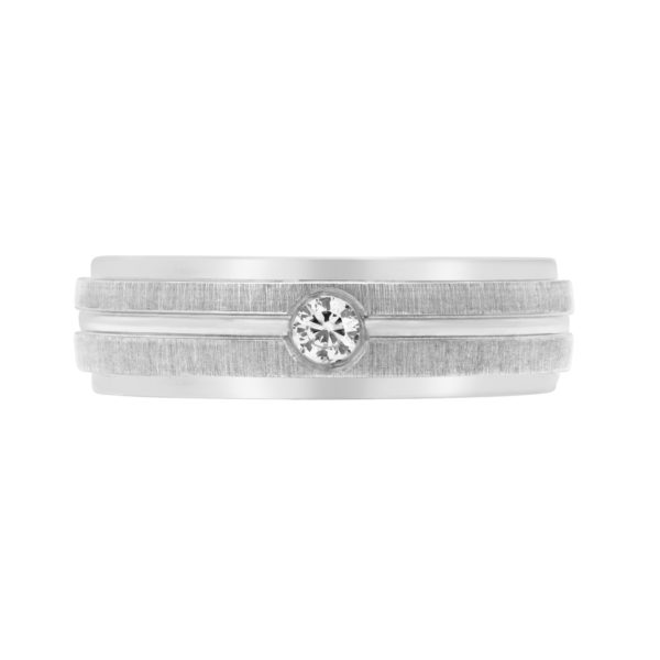 Men durable diamond wedding band in 10k white gold