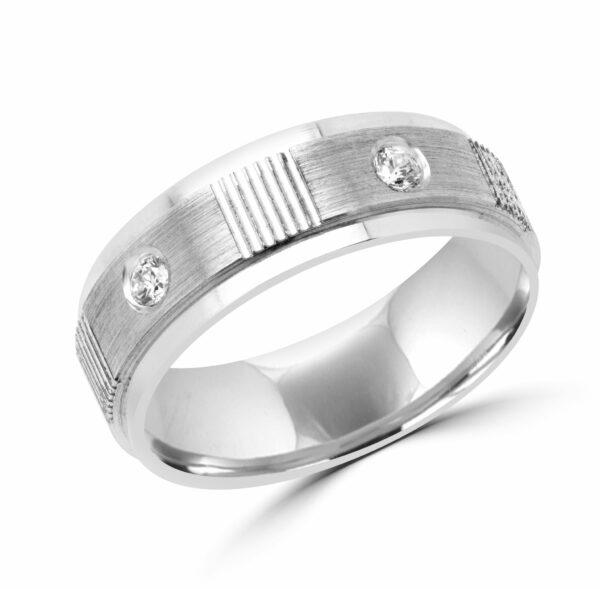 Men fidelity diamond wedding band in 10k white gold