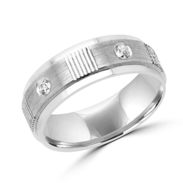 Men fidelity diamond wedding band in 10k white gold