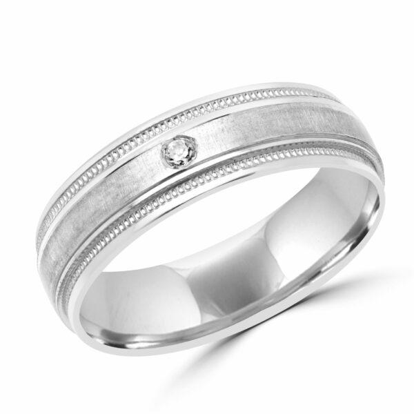 Men glam diamond wedding band in 10k white gold
