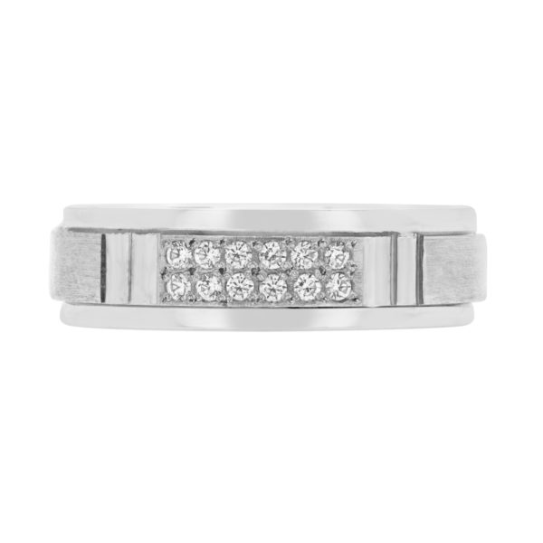 Men standard diamond wedding band in 10k white gold